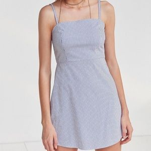 UO Blue Rae Poplin straight neck dress